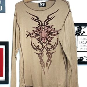 Men's Long Sleeve Graphic Top By Free Large